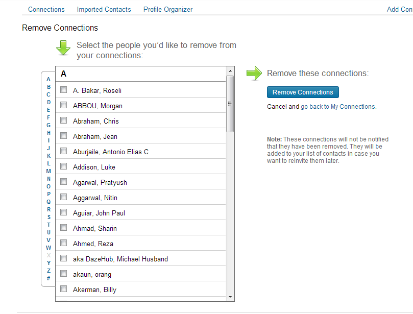 linkedin remove contacts