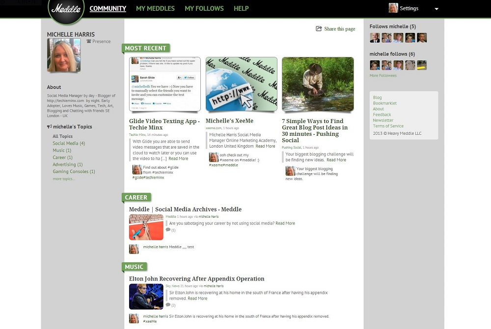 Meddle - A Free Micro-Blogging Service - Techie Minx