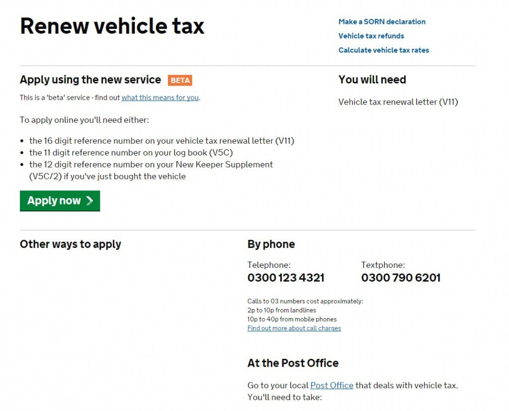 renew tax disc
