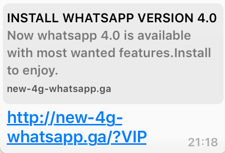 Whatsapp 4G VIP Scam fooling users